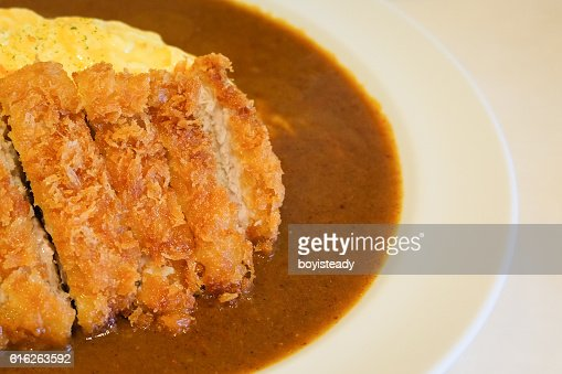 Pork Cutlet Omelet Curry : Stock Photo