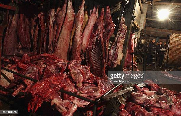 Pork is seen at an illegal slaughterhouse on November 28 2005 in Sichuan Province Chengdu China The Chengdu Health Supervision Institute has...