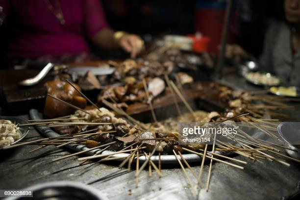 BBQ pork local food in Mandalay city at Myanmar in the night.