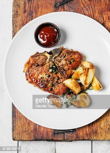 Pork loin chop : Stock Photo