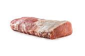 Pork loin fillet isolated on white background.