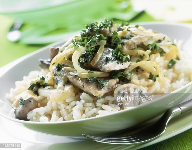 Pork & mushroom stroganoff with rice