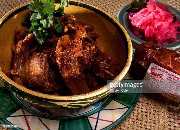 Pork pibil with pickled onions and mayan flavor marinating mix