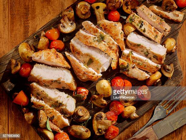 Pork Rib Chops with Tomatoes and Mushrooms