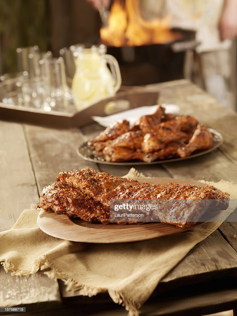 BBQ Pork Ribs and Chicken : Stock Photo