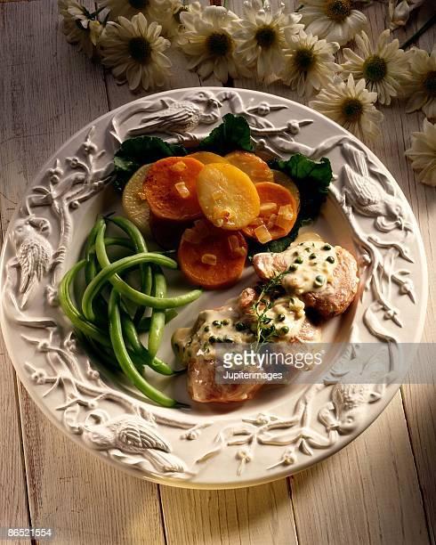 Pork tenderloin with green beans and potatoes