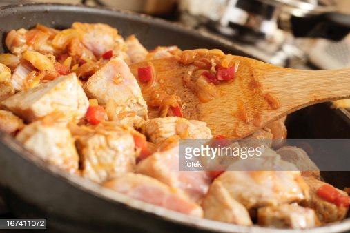 Pork with vegetables in frying pan : Stock Photo