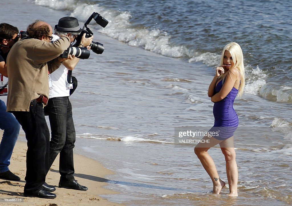 US porn star Jesse Jane poses during the Mipcom international audiovisual trade show at the Palais des Festivals, in Cannes, southeastern France, on October 8, 2012.