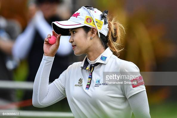 Pornanong Phatlum of Thailand acknowledges the fan during the final round of Honda LPGA Thailand at Siam Country Club on February 26 2017 in Chonburi...