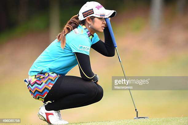 Pornanong Phatlum of Thailand lines up during the second round of the TOTO Japan Classics 2015 at the Kintetsu Kashikojima Country Club on November 7...