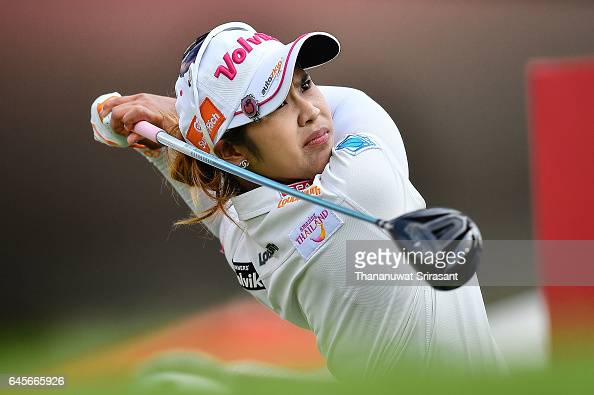 Pornanong Phatlum of Thailand tee off at 1st hole during the final round of Honda LPGA Thailand at Siam Country Club on February 26 2017 in Chonburi...