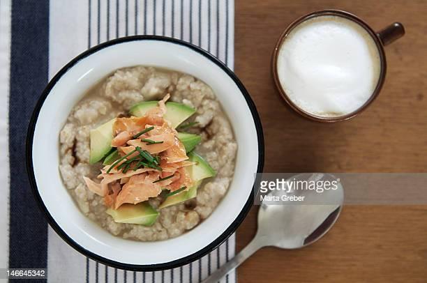 Porridge with salmon and avocado