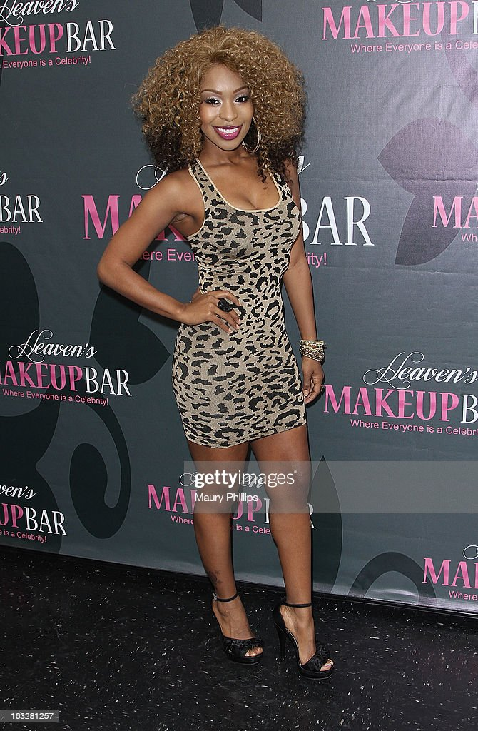 Porscha Coleman attends the launch party for VH1's 'Love & Hip Hop' Star Erica Mena new cosmetic line 'Lady J Cosmetics' at Heaven's Makeup Bar on March 6, 2013 in Burbank, California.