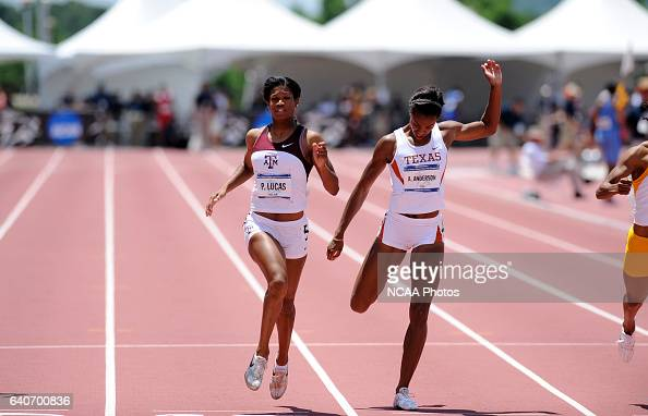 Porscha Lucas of Texas AM University competes during the 200 meter dash during the Division I Women's Outdoor Track and Field Championship held at...