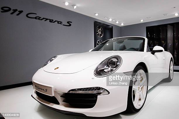 Porsche 911 Carrera S car is displayed during the media day of the 2012 Beijing International Automotive Exhibition at beijng International...