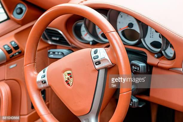 Porsche 911 sports car leather interior