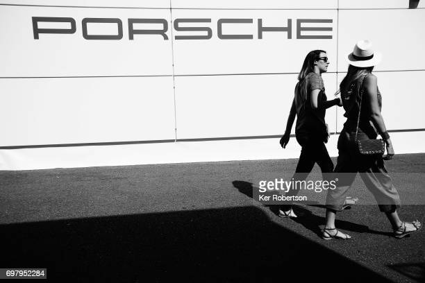 Porsche atmosphere in the paddock before qualifying for the Le Mans 24 Hours race at the Circuit de la Sarthe on June 15 2017 in Le Mans France