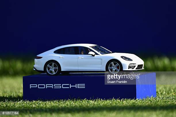 Porsche branded tee marker is seen during the final round of the Porsche European Open at Golf Resort Bad Griesbach on September 25 2016 in Passau...
