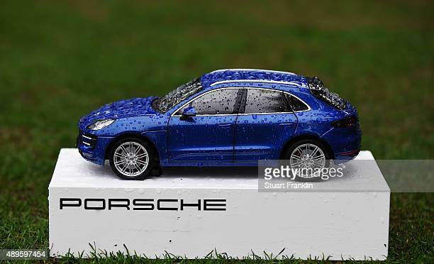 Porsche car tee marker during the pro am prior to the start of the Porsche European Open at Golf Resort Bad Griesbach on September 23 2015 in Passau...