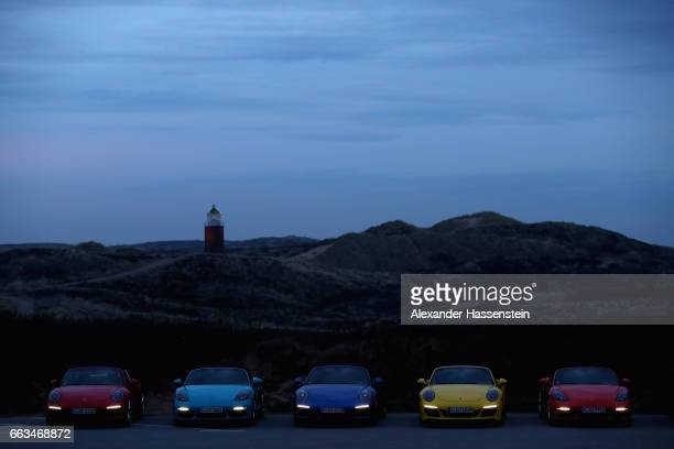 Porsche cars at the Grand Opening of 'Porsche auf Sylt' on April 1 2017 in Westerland Germany German car manufacturer Porsche has opened a new brand...