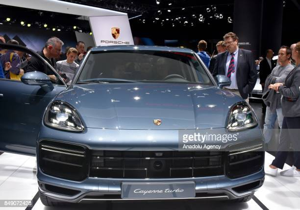 Porsche Cayenne Turbo is displayed at the 67th International Frankfurt Motor Show in Frankfurt Germany on September 18 2017 Approximately one...