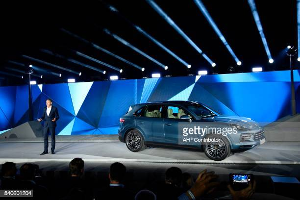 Porsche CEO Oliver Blume presents the new Porsche Cayenne at the heahquarters of German carmaker Porsche in Stuttgart southwestern Germany on August...