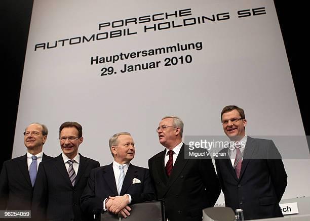 Porsche CFO Hans Dieter Poetsch member of the board Michael Macht Porsche supervisory board chairman Wolfgang Porsche Porsche CEO Martin Winterkorn...
