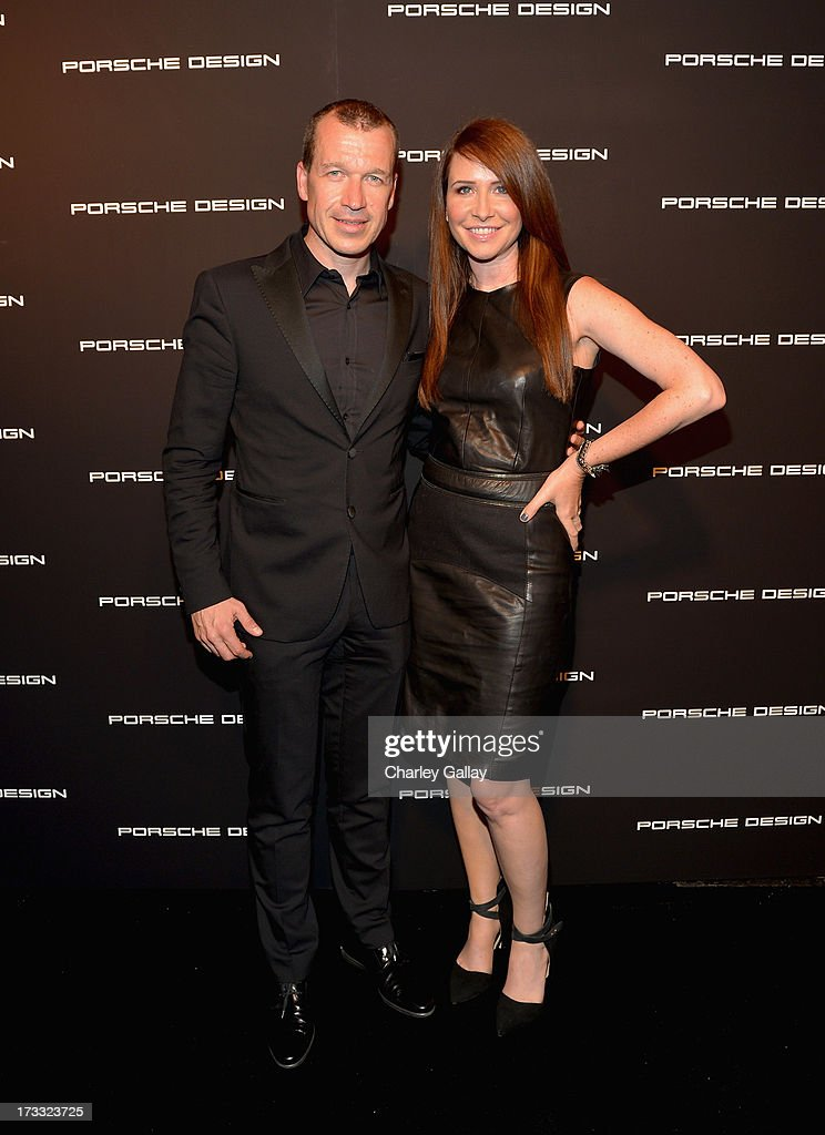 Porsche Design CEO Juergen Gessler and costume designer Janie Bryant attend the Porsche Design and Vogue re-opening event at Porsche Design Beverly Hills on July 11, 2013 in Beverly Hills, California.