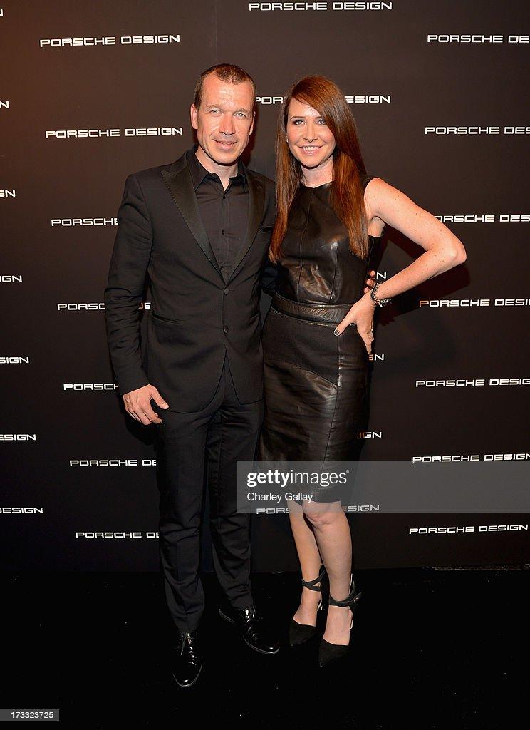 Porsche Design CEO Juergen Gessler and costume designer Janie Bryant attend the Porsche Design and Vogue reopening event at Porsche Design Beverly...