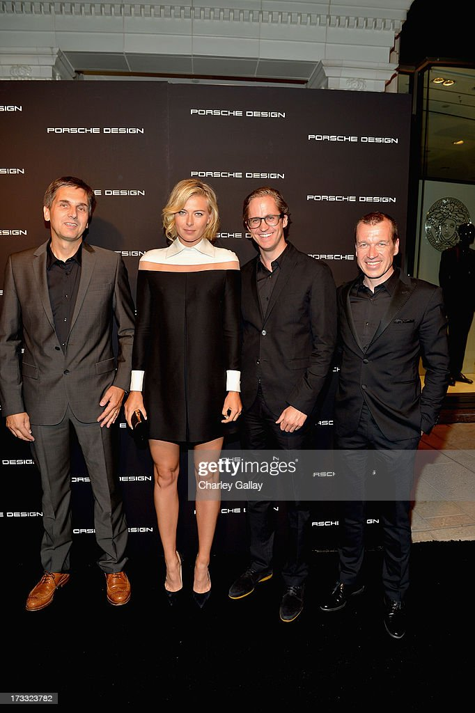 CFO, Porsche Design Group, Frank Angelkoetter, tennis player Maria Sharapova, Christian Wiess and CEO, Porsche Design, Juergen Gessler attend the Porsche Design and Vogue re-opening event at Porsche Design Beverly Hills on July 11, 2013 in Beverly Hills, California.