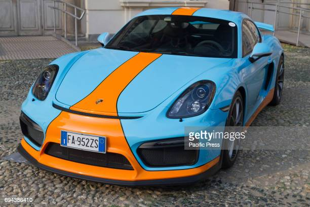 Porsche GT4 Supercar and luxury sports car on exhibition during Turin Car Show