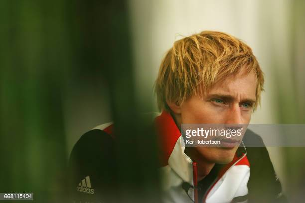 Porsche LMP Team driver Brendon Hartley of New Zealand is interviewed by the media during previews to the FIA World Endurance Championship at...