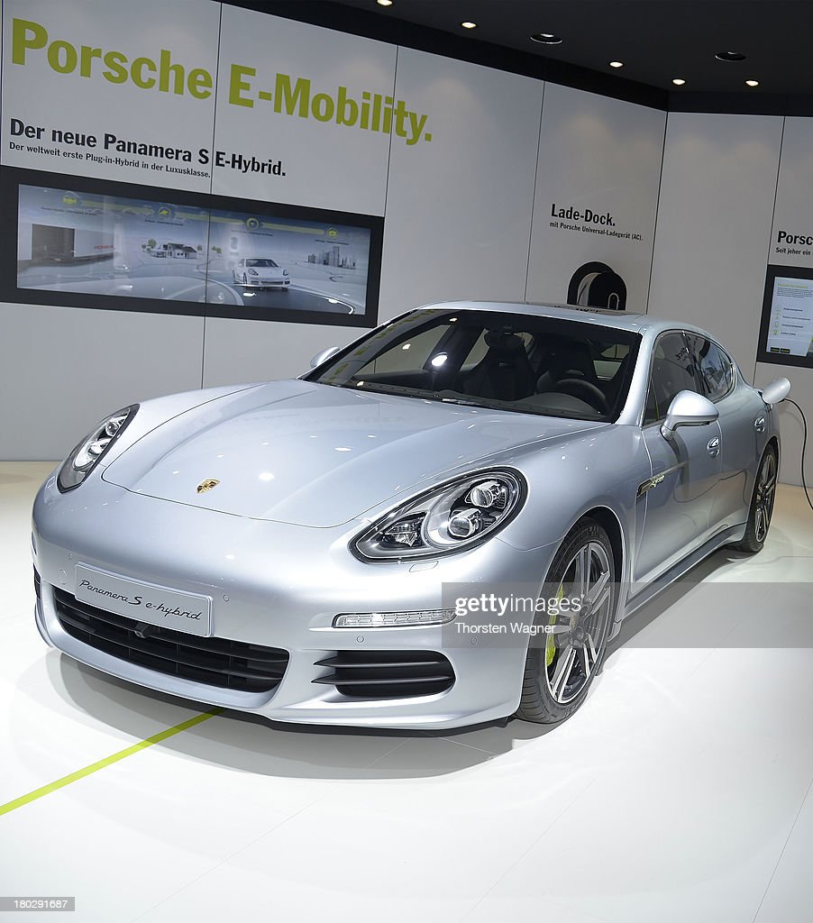 Porsche Panamera E-Hybrid is during the press day at the international motor show IAA (Internationale Automobil-Ausstellung) on September 11, 2013 in Frankfurt am Main, Germany. The world's biggest motor show, the IAA, is running from September 12 to 22, 2013
