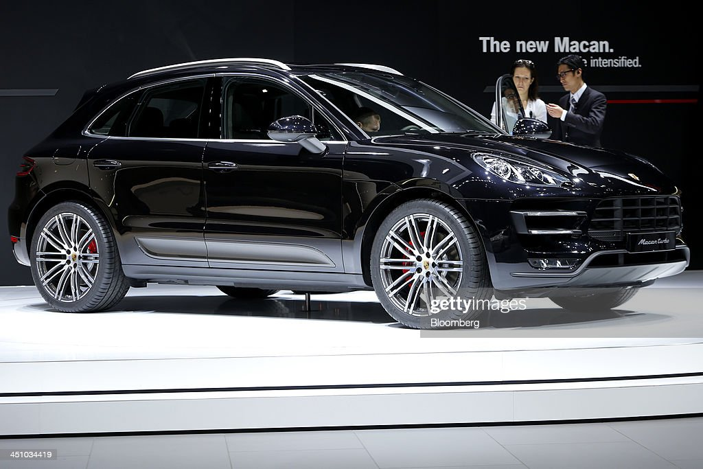 A Porsche SE Macan Turbo vehicle stands on display at the 43rd Tokyo Motor Show 2013 in Tokyo, Japan, on Thursday, Nov. 21, 2013. The autoshow will be open to the public from Nov. 23 to Dec. 1 at the Tokyo International Exhibition Center, also known as the Tokyo Big Sight. Photographer: Kiyoshi Ota/Bloomberg via Getty Images