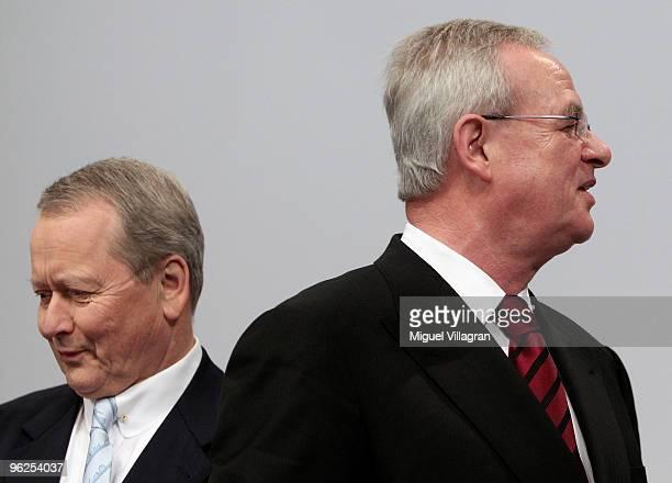 Porsche supervisory board chairman Wolfgang Porsche and Porsche CEO Martin Winterkorn attend Porsche's annual general meeting on January 29 2010 in...