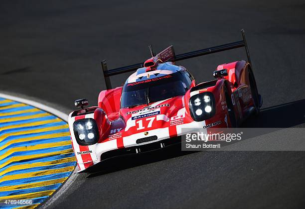 Porsche Team driven by Timo Bernhard Mark Webber and Brendon Hartley during warmup for the Le Mans 24 Hour race at the Circuit de la Sarthe on June...