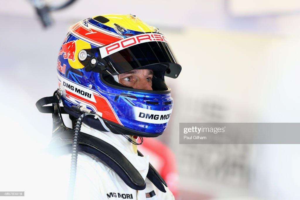 Porsche Team Porsche 919 Hybrid LMP1 driver <a gi-track='captionPersonalityLinkClicked' href=/galleries/search?phrase=Mark+Webber+-+Race+Car+Driver&family=editorial&specificpeople=167271 ng-click='$event.stopPropagation()'>Mark Webber</a> of Australia prepares to drive during the FIA World Endurance Championship 6 Hours of Silverstone sportscar race at the Silverstone Circuit on April 20, 2014 in Northampton, England.