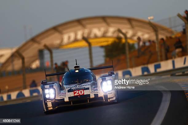 Porsche Team Porsche 919 Hybrid Timo Bernhard Mark Webber Brendon Hartley on June 15 2014 in Le Mans France