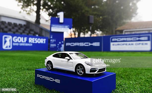 Porsche tee marker on the first hole is seen during the fog delay of the first round of the Porsche European Open at Golf Resort Bad Griesbach on...