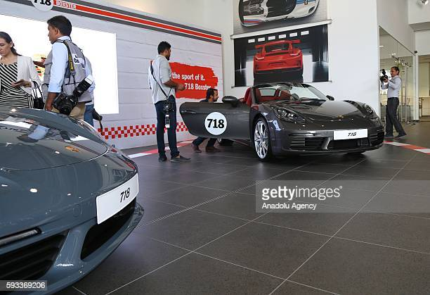 Porsche's new model of cars 718 Boxster and 718 Boxster S are introduced during the launch at Euro Motors' auto showroom at Sitra Island in Manama...