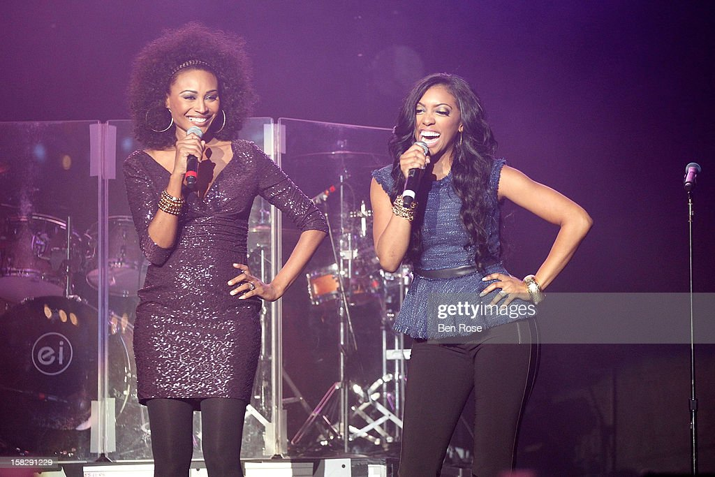 Porsha Stewart and <a gi-track='captionPersonalityLinkClicked' href=/galleries/search?phrase=Cynthia+Bailey&family=editorial&specificpeople=3055318 ng-click='$event.stopPropagation()'>Cynthia Bailey</a> speak onstage during Power 96.1's Jingle Ball 2012 at the Philips Arena on December 12, 2012 in Atlanta.