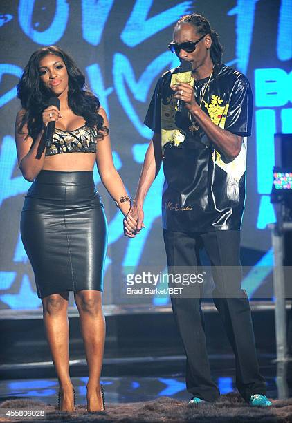 Porsha Williams and rapper Uncle Snoop appear onstage during the BET Hip Hop Awards 2014 at Boisfeuillet Jones Atlanta Civic Center on September 20...