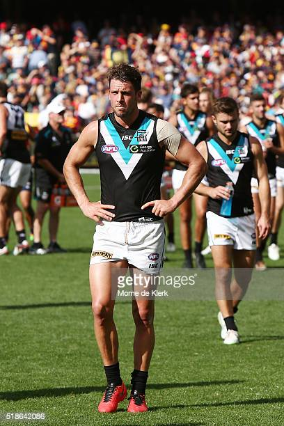 Port Adelaide players look on after the round two AFL match between the Adelaide Crows and the Port Adelaide Power at Adelaide Oval on April 2 2016...
