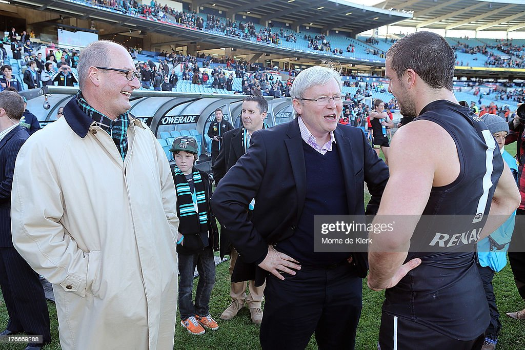 PM Kevin Rudd Attends Port Adelaide AFL Match