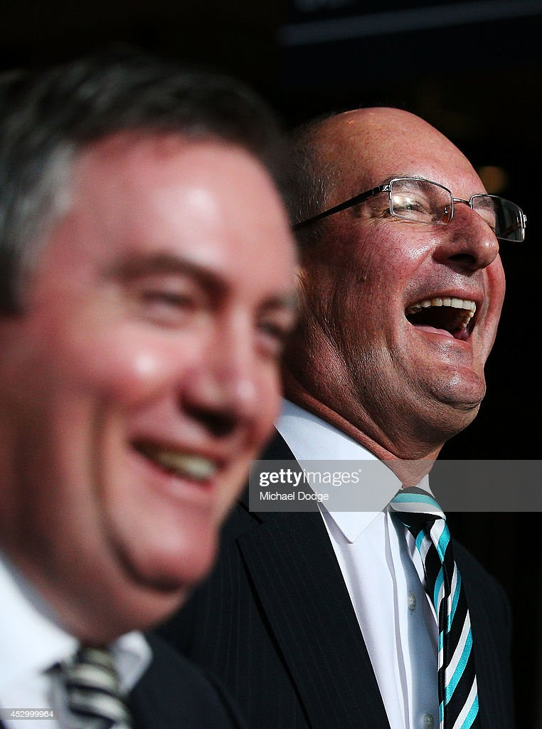 Port Adelaide President David Koch reacts to Collingwood Magpies President when speaking to media at The Importance of Leadership Business Networking...