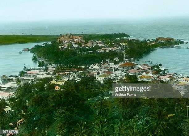 Port Antonio Jamaica with the Hotel Tichfield overlooking the town