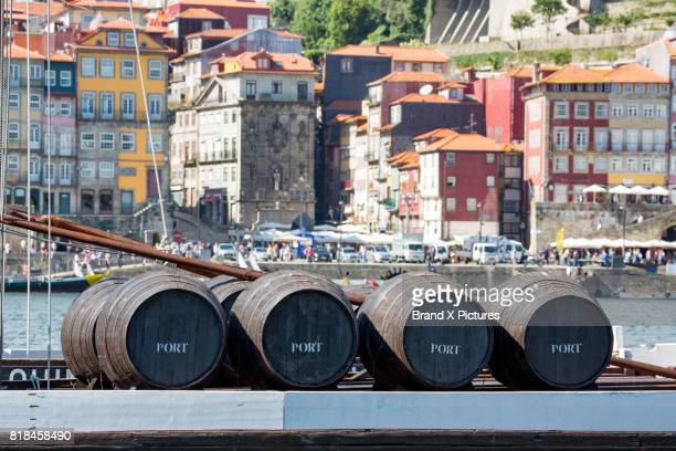 Port barrels on a Rabelo boat in the Ribera riverside area of Porto