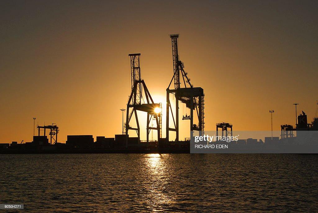 Port Cranes Against Sunset