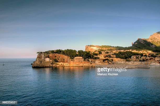 Port de Soller bay, marina and lighthouse view