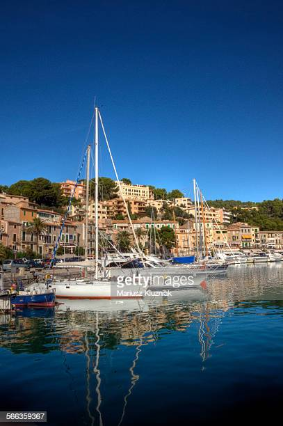 Port de Soller marina reflections on clear day